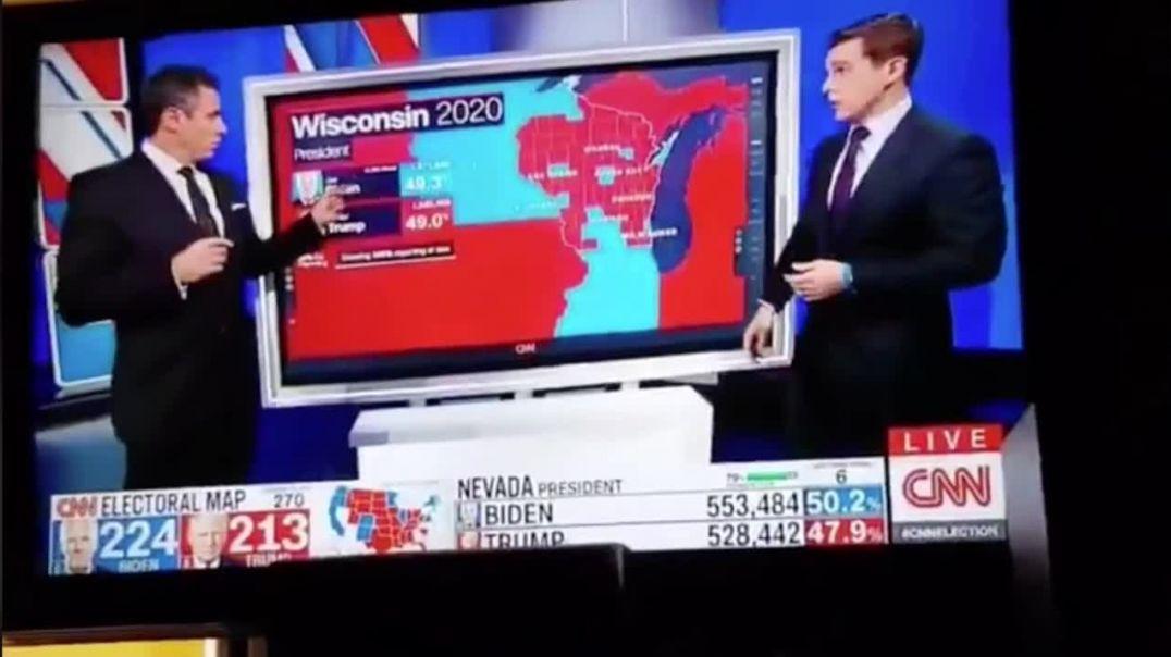 La CNN retransmite en directo el momento del pucherazo en Wisconsin (Elecciones USA 2020)