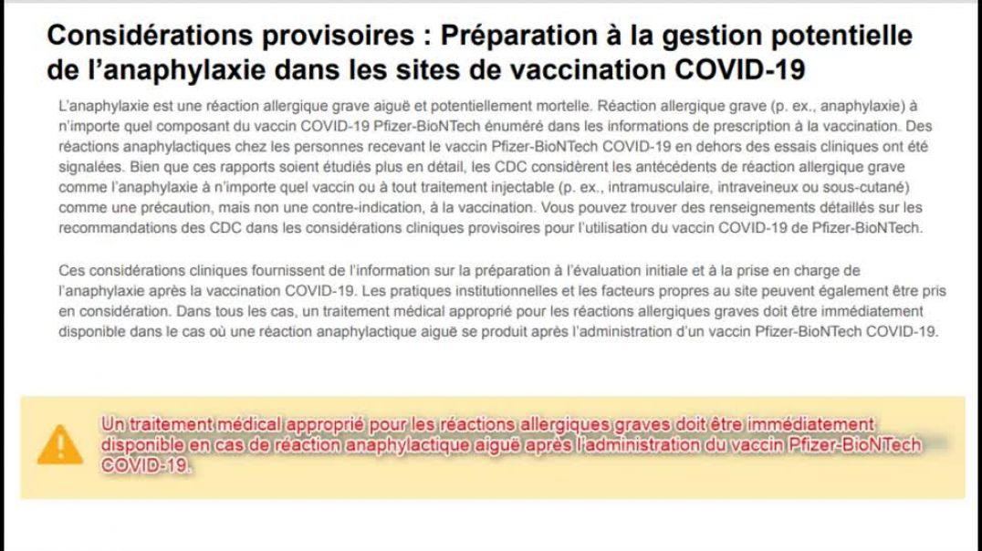 La gestion potentielle de l'anaphylaxie dans les sites de vaccination COVID-19La gestion potentielle